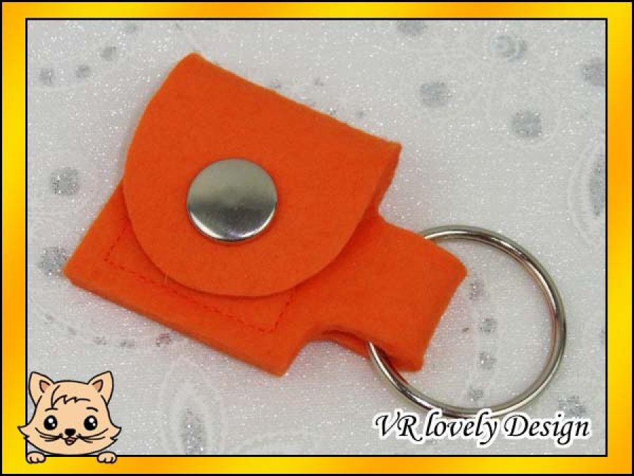 """Schlüsselanhänger Tasche aus Filz """"Orange"""" Farbwahl"""