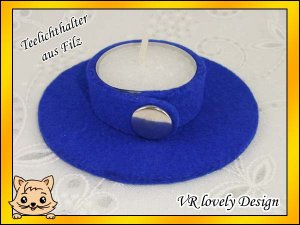"""Teelichthalter Kerzenhalter Kerzenständer aus Filz """"Royalblau"""" Farbwahl"""