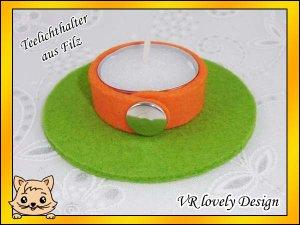 "Teelichthalter Kerzenhalter Kerzenständer aus Filz ""Pumpkin"" Farbwahl"
