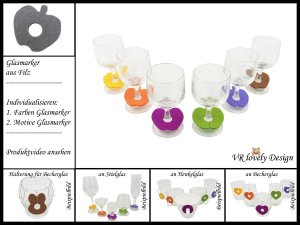 "Glasmarker aus Filz 6 St ""Apfel"" Farbwahl Motivwahl"