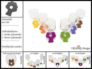 """Glasmarker aus Filz 6 St """"Baum"""" Farbwahl Motivwahl"""