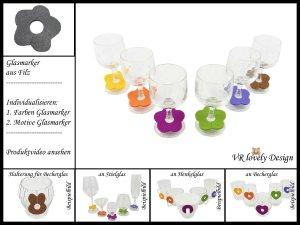 """Glasmarker aus Filz 6 St """"Blume"""" Farbwahl Motivwahl"""