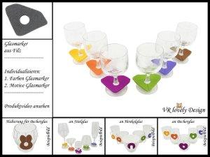 """Glasmarker aus Filz 6 St """"Diamant"""" Farbwahl Motivwahl"""