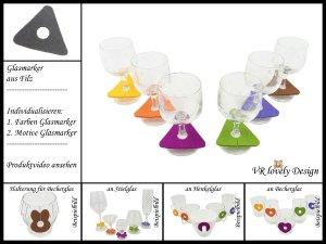 """Glasmarker aus Filz 6 St """"Dreieck"""" Farbwahl Motivwahl"""