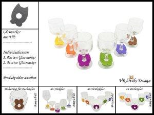 "Glasmarker aus Filz 6 St ""Eule"" Farbwahl Motivwahl"