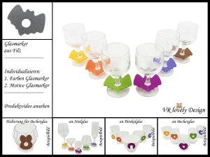 "Glasmarker aus Filz 6 St ""Fledermaus"" Farbwahl Motivwahl"