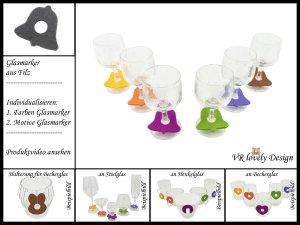 """Glasmarker aus Filz 6 St """"Glocke"""" Farbwahl Motivwahl"""