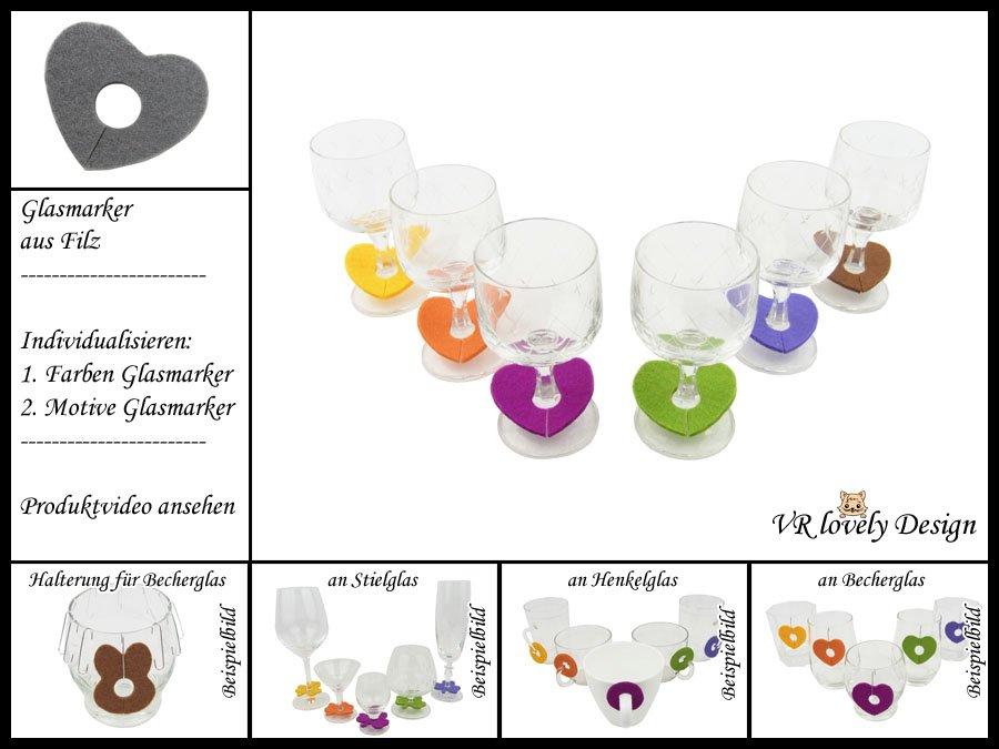 """Glasmarker aus Filz 6 St """"Herz"""" Farbwahl Motivwahl"""
