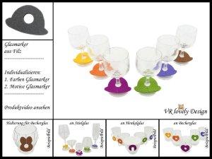 """Glasmarker aus Filz 6 St """"Hut"""" Farbwahl Motivwahl"""