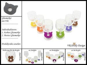 """Glasmarker aus Filz 6 St """"Katze"""" Farbwahl Motivwahl"""