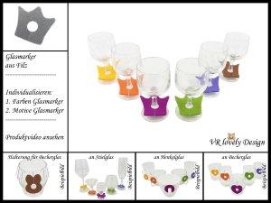 """Glasmarker aus Filz 6 St """"Krone"""" Farbwahl Motivwahl"""