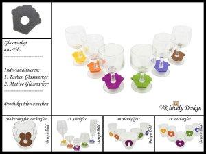 """Glasmarker aus Filz 6 St """"Muffin"""" Farbwahl Motivwahl"""