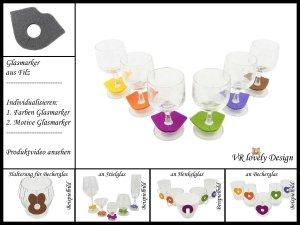 """Glasmarker aus Filz 6 St """"Mund"""" Farbwahl Motivwahl"""