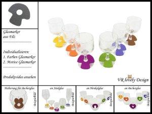 "Glasmarker aus Filz 6 St ""Pilz"" Farbwahl Motivwahl"