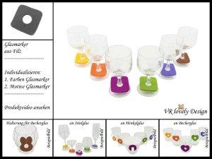 "Glasmarker aus Filz 6 St ""Quadrat"" Farbwahl Motivwahl"