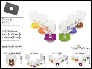 """Glasmarker aus Filz 6 St """"Rechteck"""" Farbwahl Motivwahl"""