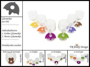 """Glasmarker aus Filz 6 St """"Regenschirm"""" Farbwahl Motivwahl"""