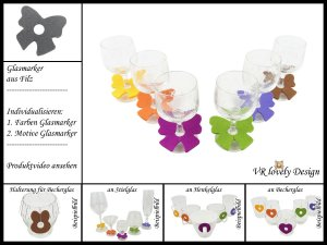 """Glasmarker aus Filz 6 St """"Schleife"""" Farbwahl Motivwahl"""