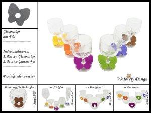 """Glasmarker aus Filz 6 St """"Schmetterling"""" Farbwahl Motivwahl"""
