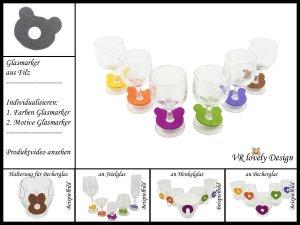 """Glasmarker aus Filz 6 St """"Teddy"""" Farbwahl Motivwahl"""