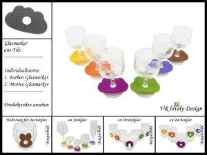 """Glasmarker aus Filz 6 St """"Wolke"""" Farbwahl Motivwahl"""