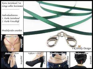 """Halskette Satinband """"Tannengrün"""" Bastelset Farbwahl"""