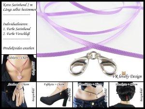 """Halskette Satinband """"Lavendel"""" Bastelset Farbwahl"""