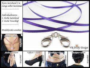 """Halskette Satinband """"Violett"""" Bastelset Farbwahl"""