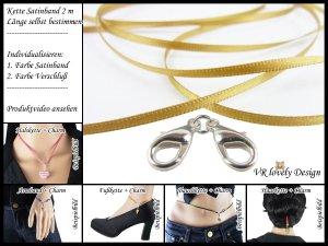 """Halskette Satinband """"Gold"""" Bastelset Farbwahl"""
