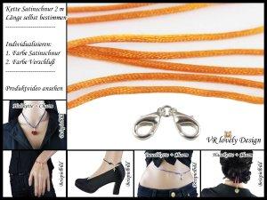 "Halskette Satinschnur ""Orange"" Bastelset Farbwahl"