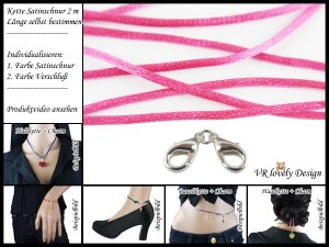 "Halskette Satinschnur ""Pink"" Bastelset Farbwahl"