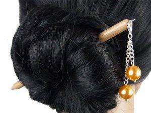 """Haarstab """"Natur"""" mit Charm Perlenkette """"Sonnengelb"""" Farbwahl"""