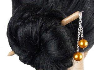 """Haarstab """"Natur"""" mit Charm Perlenkette """"Goldgelb"""" Farbwahl"""