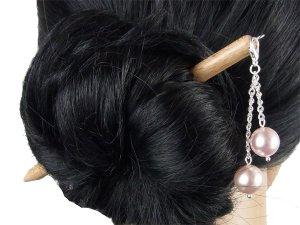 "Haarstab ""Natur"" mit Charm Perlenkette ""Orchidee"" Farbwahl"