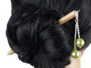 """Haarstab """"Natur"""" mit Charm Perlenkette """"Jade"""" Farbwahl"""