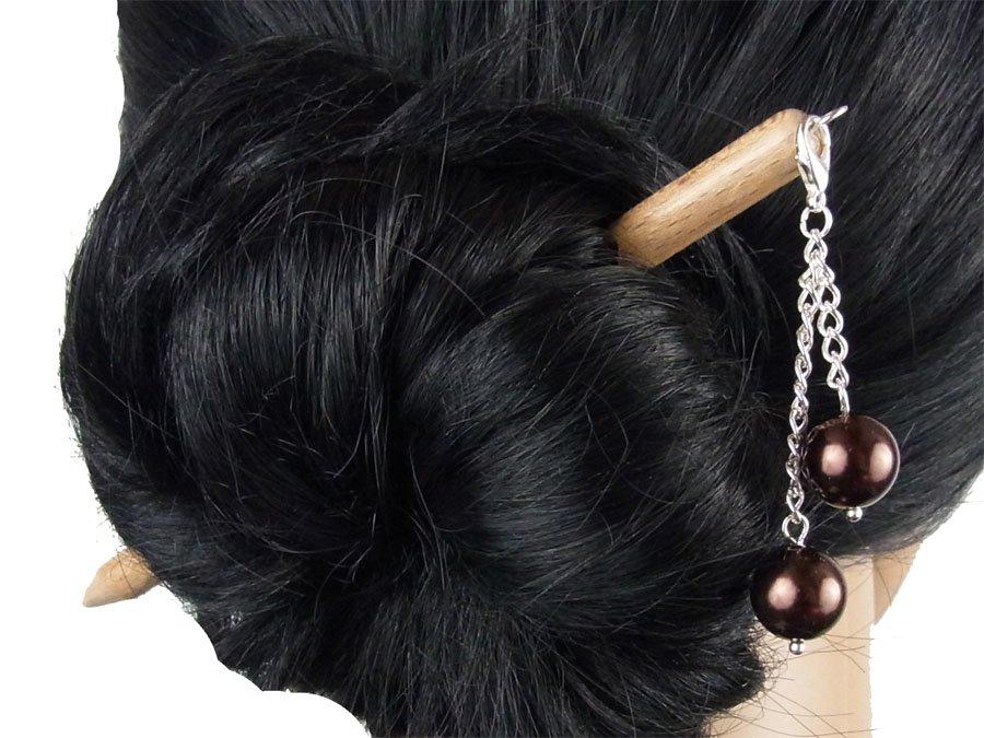 "Haarstab ""Natur"" mit Charm Perlenkette ""Nougat"" Farbwahl"