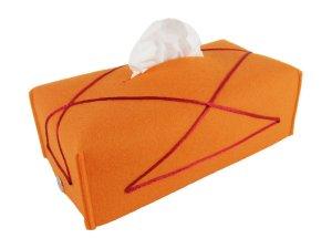 """Hülle für Kosmetiktücher-Box aus Filz """"Orange-Bordeaux"""" Farbwahl + Größenwahl"""