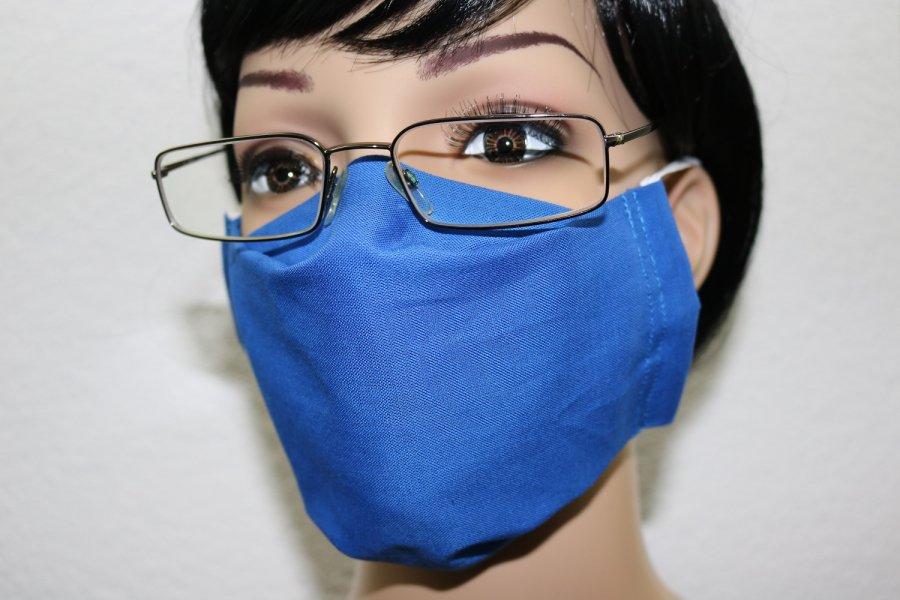 """Behelfsmaske Behelfsmundschutz Stoffmaske Gesichtsmaske (für Brillenträger) """"Blau"""""""