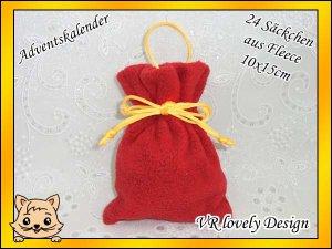 Adventskalender 24 Säckchen aus Fleece